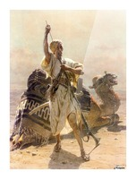 A warrior with a camel Picture Frame print