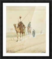 Arab travellers on an egyptian road Picture Frame print