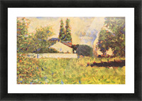 A house between trees by Seurat Picture Frame print