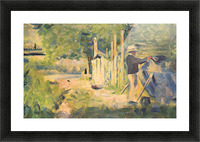 A man removes his boat by Seurat Picture Frame print