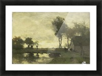 Landschap met boerderij bij een plas Picture Frame print