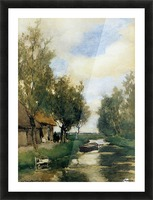 Farm on polder canal Picture Frame print
