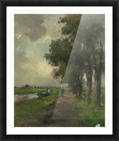 Farmers conversing on a towpath near Noorden Picture Frame print