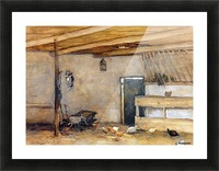 Stable with chickens Picture Frame print