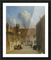 Cityscape with many figures Picture Frame print