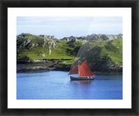 Boat In The Sea, Galway Hooker, County Galway, Republic Of Ireland Picture Frame print