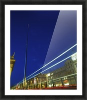 Spire Of Dublin, O'connell Street, Dublin, Ireland; Sculpture Against Traffic Light Streams Picture Frame print