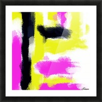pink yellow and black painting abstract with white background Picture Frame print