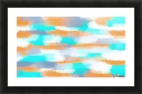 orange and blue painting abstract with white background Picture Frame print