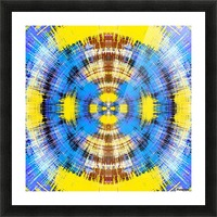 geometric blue yellow and brown circle plaid pattern abstract background Picture Frame print