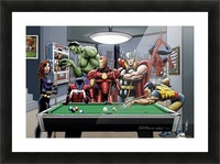 Afterhours: Marvel Superheroes Relax  Playing Pool featuring X-Men & Avengers, Wolverine, Spider-Man, Black Widow, Nightcrawler, Iron Man and Hulk Picture Frame print