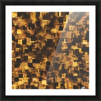 geometric square pattern abstract in brown and black Picture Frame print