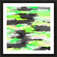 psychedelic camouflage splash painting abstract in green yellow and black Picture Frame print
