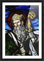 Clogheen, Ireland; St. Patrick On Stained Glass Picture Frame print