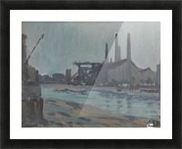 Landscape with industrial buildings by a river Picture Frame print