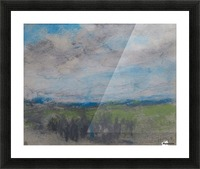 High windy sky over small copse Picture Frame print