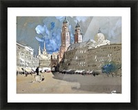 Great view of a large castle near market Picture Frame print