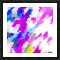 psychedelic painting texture abstract in pink purple blue yellow and white Picture Frame print