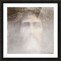 Christ face hidden in fog Picture Frame print