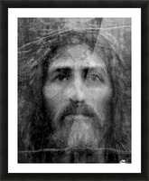 Christ face reconstruction black and white Picture Frame print