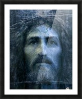 Christ face reconstruction blue Picture Frame print