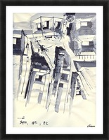 Architectural view in birdeye Indian ink Picture Frame print