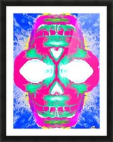 painting pink smiling skull head with blue and yellow background Picture Frame print