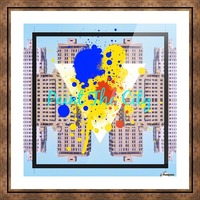 paint the city yellow blue and orange with buildings background Picture Frame print