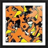 grunge geometric drawing and painting abstract in brown yellow and black Picture Frame print