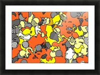psychedelic drawing and painting abstract in orange and yellow Picture Frame print