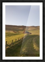 Northumberland, England; A Farm Structure And A Fence Around A Field Picture Frame print