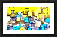 geometric graffiti square pattern abstract in yellow blue and brown Picture Frame print