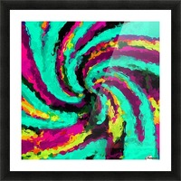 psychedelic graffiti watercolor painting abstract in green blue pink purple and yellow Picture Frame print