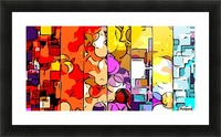 psychedelic geometric graffiti drawing and painting in orange pink red yellow blue brown purple and yellow Picture Frame print