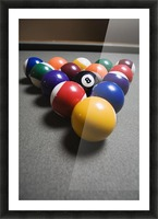 Pool Balls On A Billiard Table With The Eight Ball Facing Upwards Picture Frame print