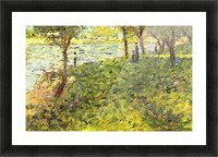 Landscape with figures by Seurat Picture Frame print