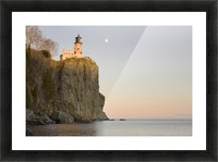 Minnesota, United States Of America; Split Rock Lighthouse On The North Shores Of Lake Superior With A Full Moon In The Sky Picture Frame print