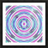 psychedelic graffiti circle pattern abstract in pink blue purple Picture Frame print