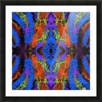 psychedelic graffiti geometric drawing abstract in blue purple orange yellow brown Picture Frame print
