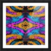 psychedelic graffiti geometric drawing abstract in pink orange blue Picture Frame print