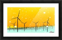 wind turbine at the desert with snow in winter Picture Frame print