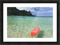 Hawaii, Kauai, Haena Beach Tunnels Beach, Red Surfboard Floating In Shallow Ocean. Picture Frame print