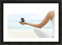 Hawaii, Woman Holding Stack Of Stones In Hands, Ocean In Background. Picture Frame print
