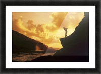 Hawaii, Golfer Standing On A Cliff And Swinging A Golf Club. Picture Frame print