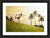 Hawaii, Oahu, Female Doing A Yoga Pose, Stretching On A Hill Overlooking Ocean, Palm Trees And Sunset. Picture Frame print