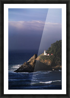 Oregon, Devils Elbow State Park, Heceta Head Lighthouse Overlooking Ocean And Waves. Picture Frame print