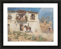 A man on his horse returning home Picture Frame print