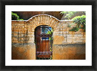 New Mexican Doors, New Mexico, Details Of Old Stone Doorway And Garden. Picture Frame print