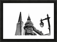 pyramid building and vintage style building at San Francisco, USA in black and white Picture Frame print