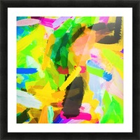 psychedelic splash painting texture abstract in green yellow pink blue Picture Frame print